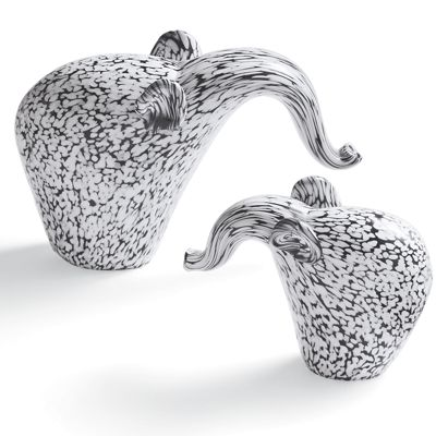 Set of 2 Black and White Elephants
