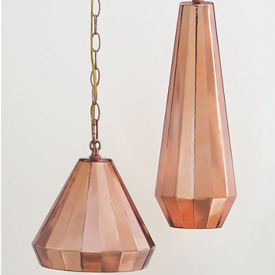 Large & Small Rose Gold Pendant Lamps