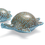 set of 2 glass turtles