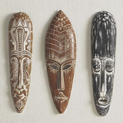 Set of 3 Tribal Mask Wall Décor