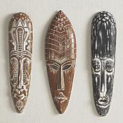 set of 3 tribal mask wall decor