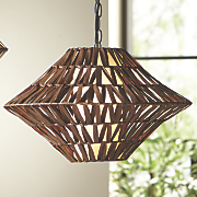 rounded rattan swag light