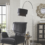 black hanging floor lamp