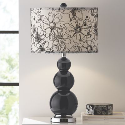 Black Lamp with Floral Shade