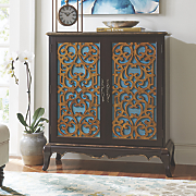 Julia Distressed Scroll-Front Cabinet