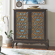 julia distressed scroll front cabinet