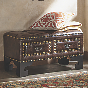kalani studded bench with drawers