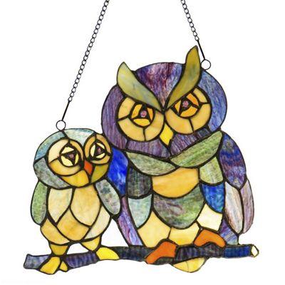 Owl Family Window Panel