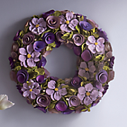 floral wreath with wood roses