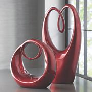 glazed red sculptures