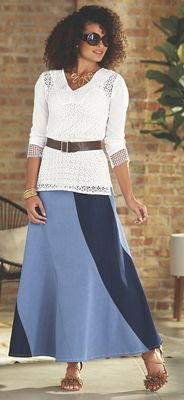 Dominica Tunic and Chenai Denim Maxi Skirt