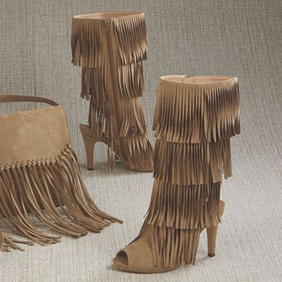 Odonna Open Toe Fringe Boot