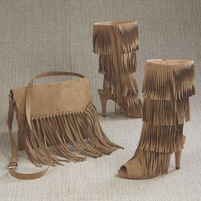 Odonna Fringe Bag and Open-Toe Fringe Boot