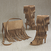odonna fringe bag and open toe fringe boot