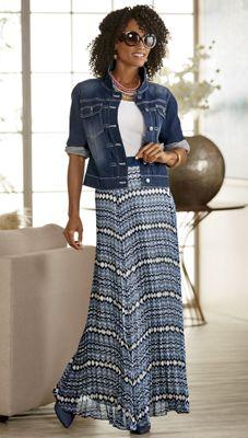 Vicky Denim Jacket and Aubrina Pleated Maxi Skirt