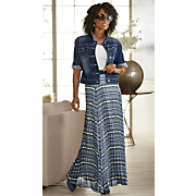 Vicky Denim Jacket and Aubrina Pleated Maxi Skirt