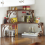 coppertone scrolled corner shelf