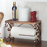 coppertone scrolled paper towel holder with shelf
