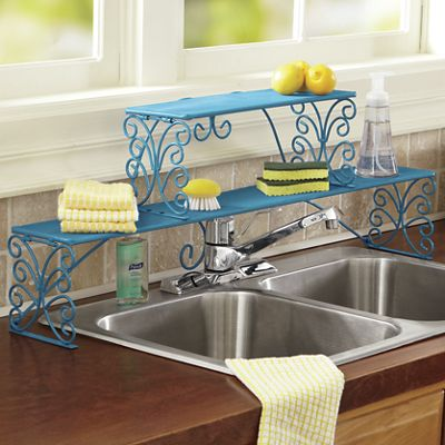 Over-The-Sink Scrolled Metal Shelf
