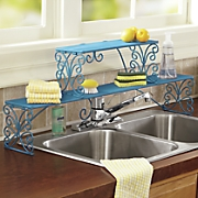 over the sink scrolled metal shelf