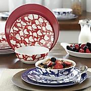 12 pc  spongeware melamine dinnerware set
