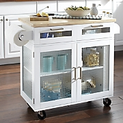 mobile kitchen island with glass doors