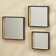 set of 3 black square tray mirrors