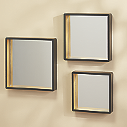 set of 3 black square tray mirrors