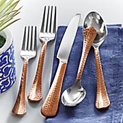 20 pc  hammered copper flatware set