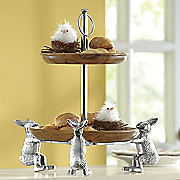 acacia wood 2 tier stand with rabbits