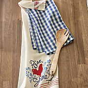 set of 2 rooster rise   shine dish towels