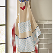 red rooster print ruffle apron