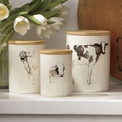 Set of 3 Ceramic Cow Jars