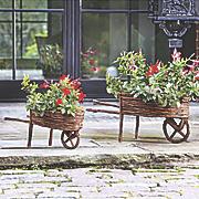 set of 2 twig wheelbarrows