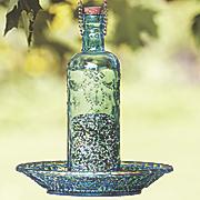 blue bottle bird feeder