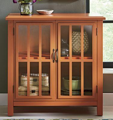Orange Storage Unit with Glass