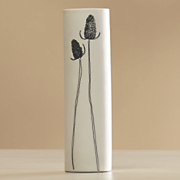 white stem vase