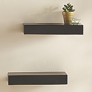 set of 2 black plank ledges