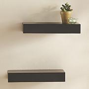 set of 2 black plank ledges