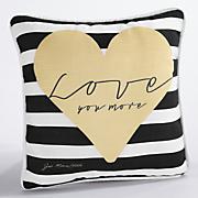 love you more stripe pillow