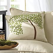 embroidered tree pillow