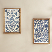 set of 2 blue floral art plaques