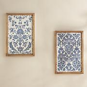 set of 2 blue floral art plaques