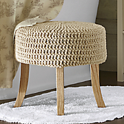 round cream knit stool