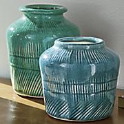 set of 3 stoneware vases