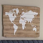 wooden world map art