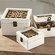 set of 3 cream storage boxes
