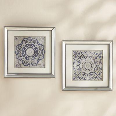 Set of 2 Blue Geo Art with Mirror Frame