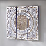 whitewashed medallion triptych