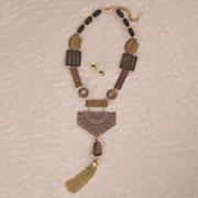 wood goldtone necklace   earring set
